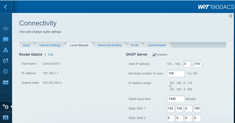 Example router DHCP/DNS settings