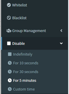 Pi-hole web interface temporary disable duration selection